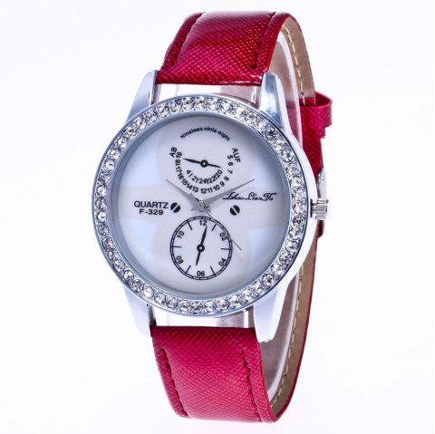 ZhouLianFa New Trend Crystal Pattern Silver Diamond Business Casual White Quartz Eyes with Gift Box - CLARET