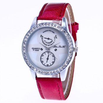 ZhouLianFa New Trend Crystal Pattern Silver Diamond Business Casual White Quartz Eyes with Gift Box - CLARET CLARET