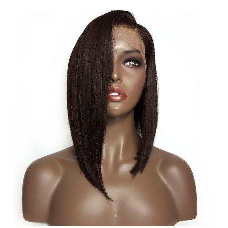 Short Deep Side Black Bobo Hair Lace Front Synthetic Wig - DEEP BROWN 14INCH