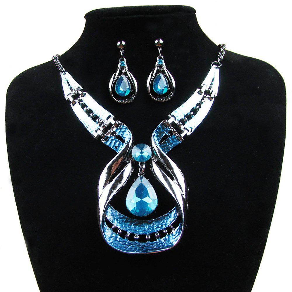 Women Fashion Jewelry Water Drop Pendant Necklace Earrings Blue Diamond Choker - BLUE