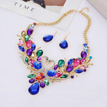 Women Luxury Jewelry Choker Diamond Swans Pendants Necklace Earrings Set - COLOR