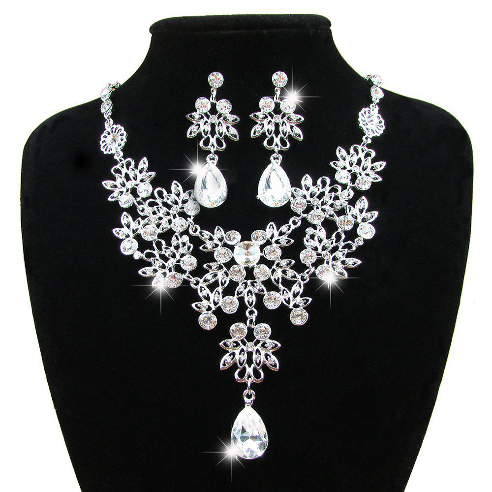 Women Diamond Water Drop Pendants Necklace Earrings Set Luxury Bridal Jewelry Choker - WHITE