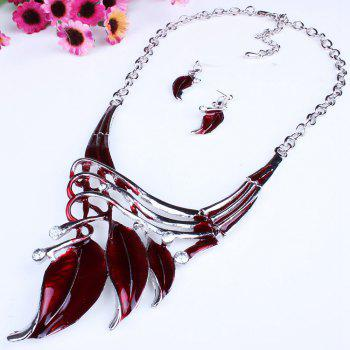 Women Leaf Pendants Necklace Earrings Set Luxury Bridal Jewelry Choker -  RED