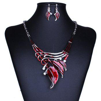 Women Leaf Pendants Necklace Earrings Set Luxury