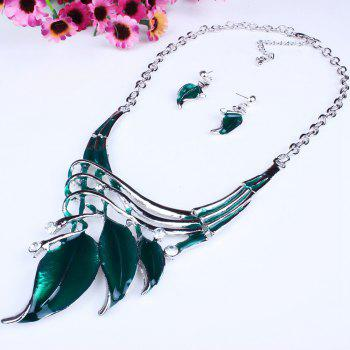 Women Leaf Pendants Necklace Earrings Set Luxury Bridal Jewelry Choker - GREEN