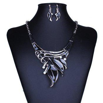Women Leaf Pendants Necklace Earrings Set Luxury Bridal Jewelry Choker - BLACK BLACK