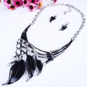 Women Leaf Pendants Necklace Earrings Set Luxury Bridal Jewelry Choker - BLACK