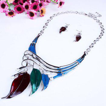 Women Leaf Pendants Necklace Earrings Set Luxury Bridal Jewelry Choker - COLOR
