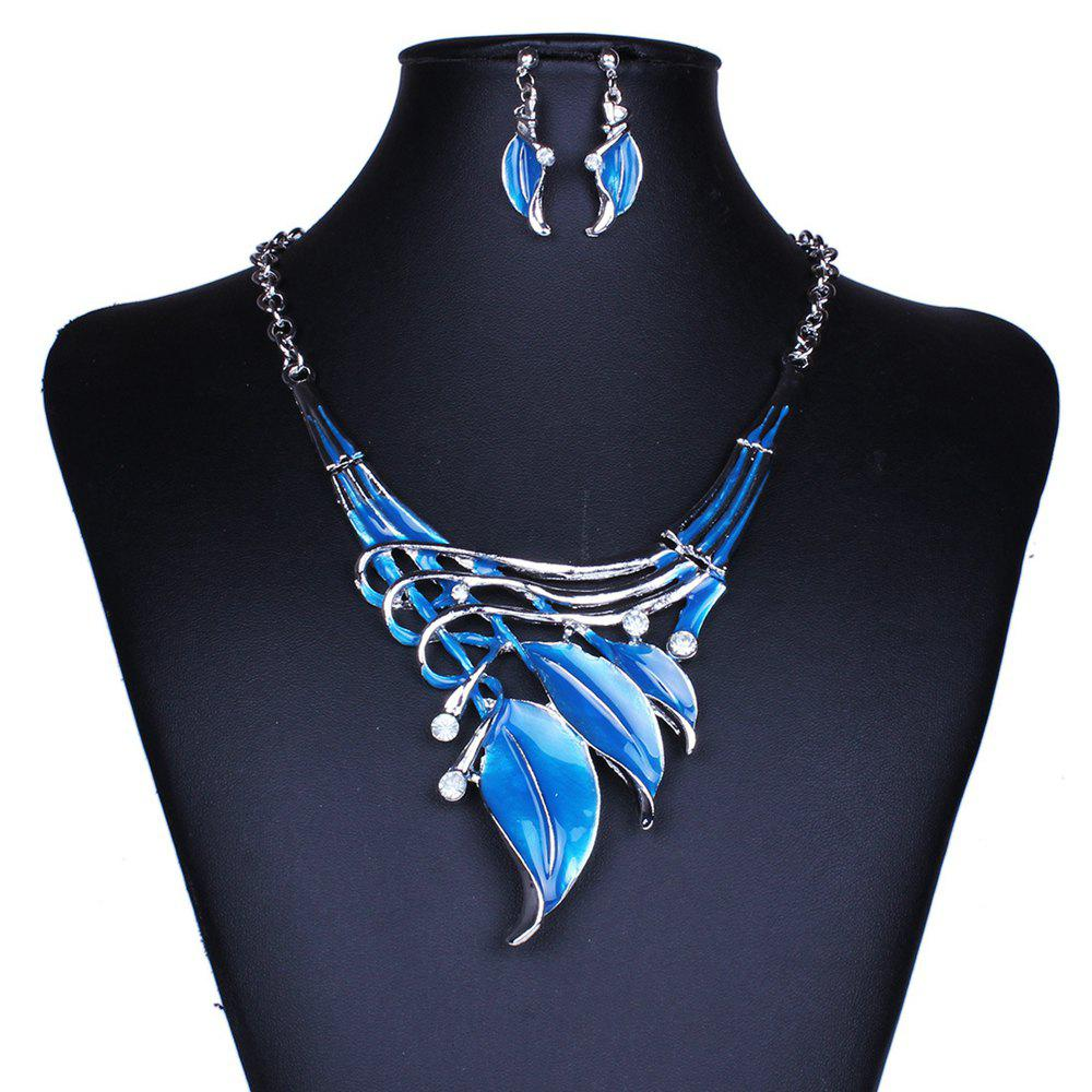 Women Leaf Pendants Necklace Earrings Set Luxury Bridal Jewelry Choker - BLUE