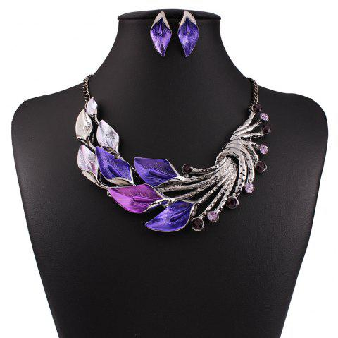 Women Fashion Jewelry Choker Vintage Peacock Leaf Pendants Necklace Earrings Set - PURPLE
