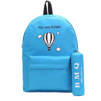 Two-Piece Printed Hot-Air Balloon Bag Slanted Backpack - BLUE BLUE