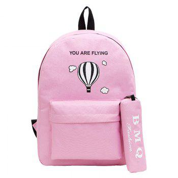 Two-Piece Printed Hot-Air Balloon Bag Slanted Backpack - PINK PINK