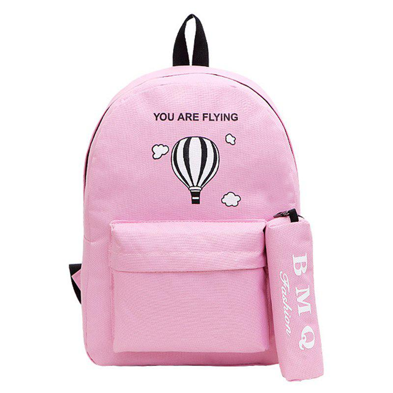 Two-Piece Printed Hot-Air Balloon Bag Slanted Backpack - PINK