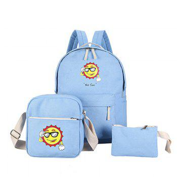 Three-Piece Sun Canvas Student Backpack - BLUE BLUE