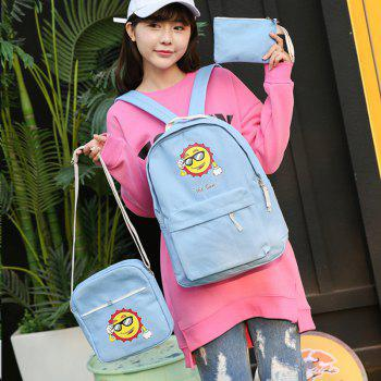 Three-Piece Sun Canvas Student Backpack -  BLUE