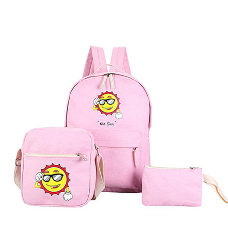 Three-Piece Sun Canvas Student Backpack - PINK