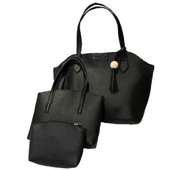 The Three-Piece Set of The Lychee with A Smiling Face Is Cross-Packed - BLACK BLACK
