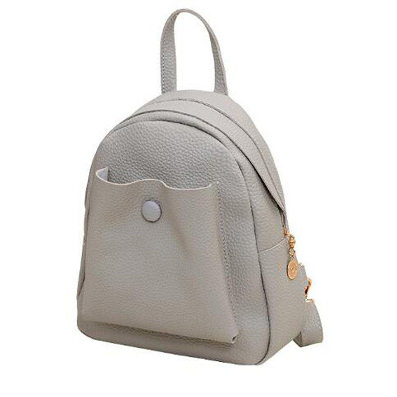 Pu leather mini lady multi-purpose bag - GRAY