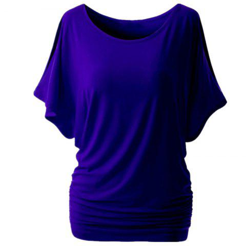 Stylish Loose Sleeves Round Collar Solid Color T-shirt - BLUE L