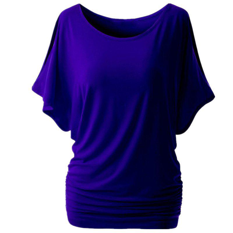 Round Collar Pure Color T-shirt - BLUE L