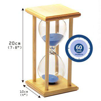 POSCN 60 Minutes Durable Glass Hourglasses Crude Wood Sand Timer for Time Management LP9007-0006 - BLUE
