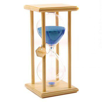 POSCN 60 Minutes Durable Glass Hourglasses Crude Wood Sand Timer for Time Management LP9007-0006 - BLUE BLUE