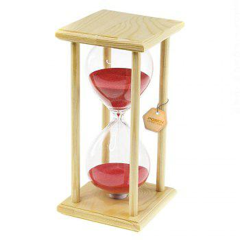 POSCN 60 Minutes Durable Glass Hourglasses Crude Wood Sand Timer for Time Management LP9007-0006 - PINK PINK