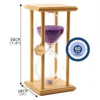 POSCN 60 Minutes Durable Glass Hourglasses Crude Wood Sand Timer for Time Management LP9007-0006 -  PURPLE