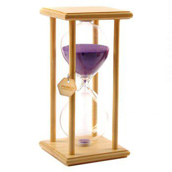 POSCN 60 Minutes Durable Glass Hourglasses Crude Wood Sand Timer for Time Management LP9007-0006 - PURPLE PURPLE