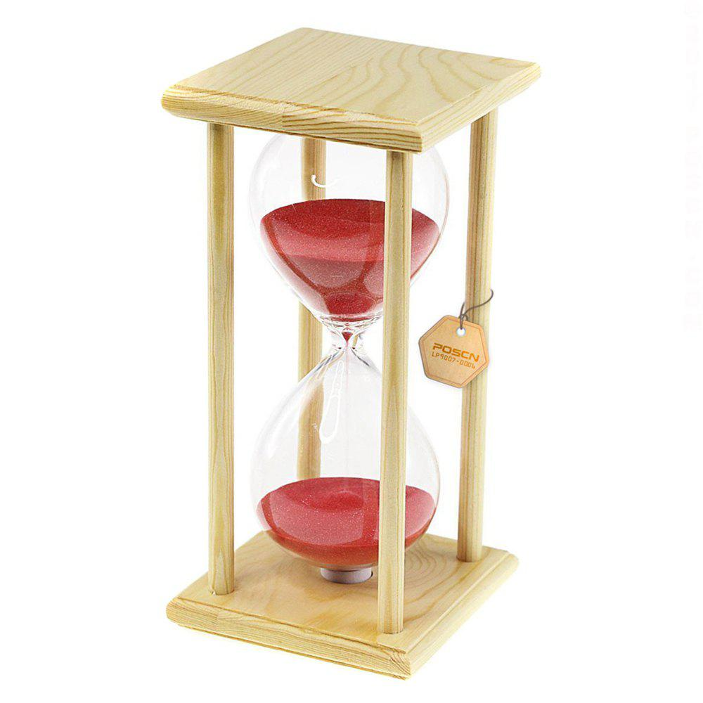 POSCN 60 Minutes Durable Glass Hourglasses Crude Wood Sand Timer for Time Management LP9007-0006 - PINK
