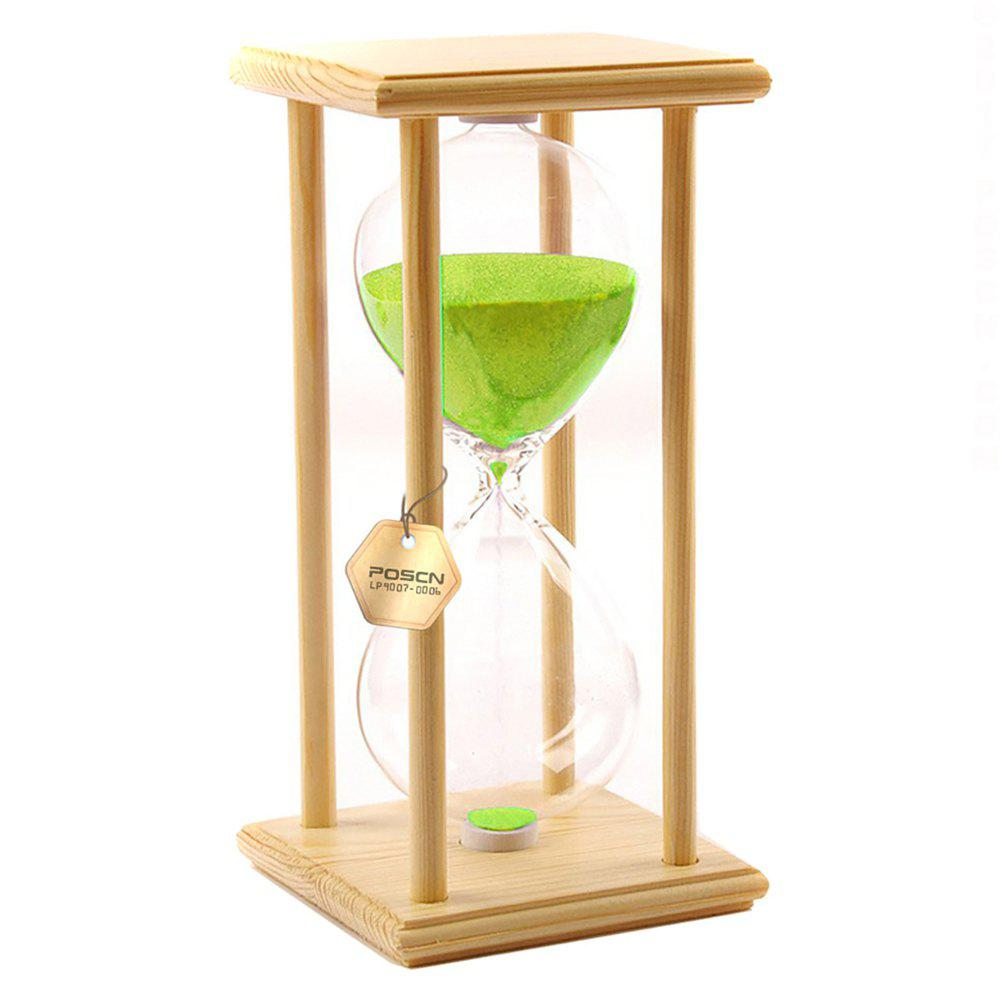 POSCN 60 Minutes Durable Glass Hourglasses Crude Wood Sand Timer for Time Management LP9007-0006 - GREEN