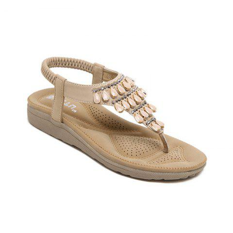 2971df4b8eee4c Ladies Rubber Sole Water Drilling Flat Shoe Beach Shoes - APRICOT 39