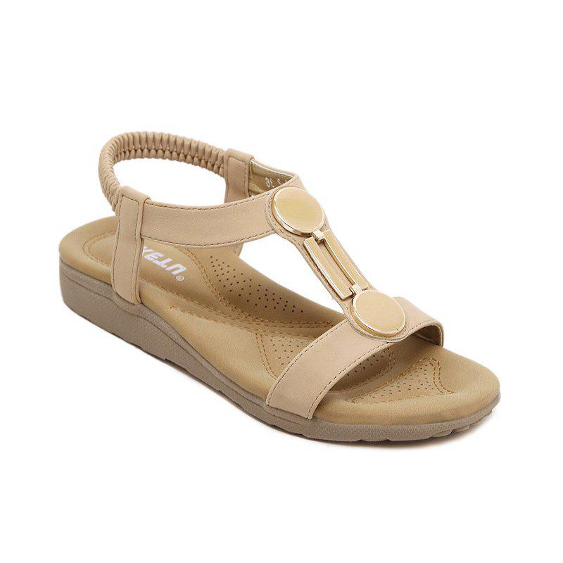 Las Rubber Sole Sandals With Flat Shoes Foreign Trade Size Beach Apricot 35