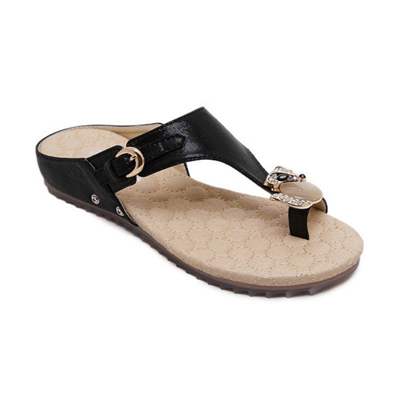 Tuoup Womens Leather Anti-Skid Jeweled Thong Sandles Wedge Sandals