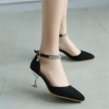 Miss Shoes 559 Pointed Glasses and Fashionable Single Shoes - BLACK 35