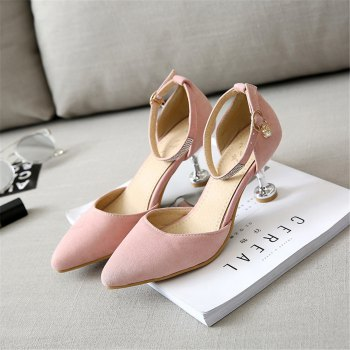 Miss Shoes 559 Pointed Glasses and Fashionable Single Shoes - PINK 45