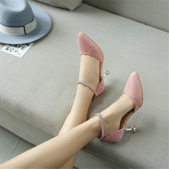 Miss Shoes 559 Pointed Glasses and Fashionable Single Shoes - PINK 40