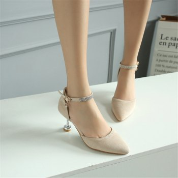Miss Shoes 559 Pointed Glasses and Fashionable Single Shoes - APRICOT 46