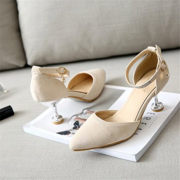 Miss Shoes 559 Pointed Glasses and Fashionable Single Shoes - APRICOT 35