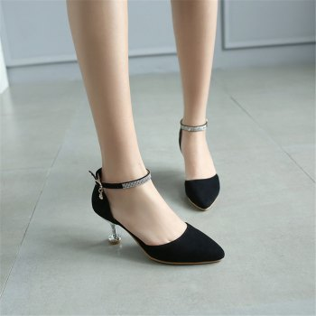 Miss Shoes 559 Pointed Glasses and Fashionable Single Shoes - BLACK 45