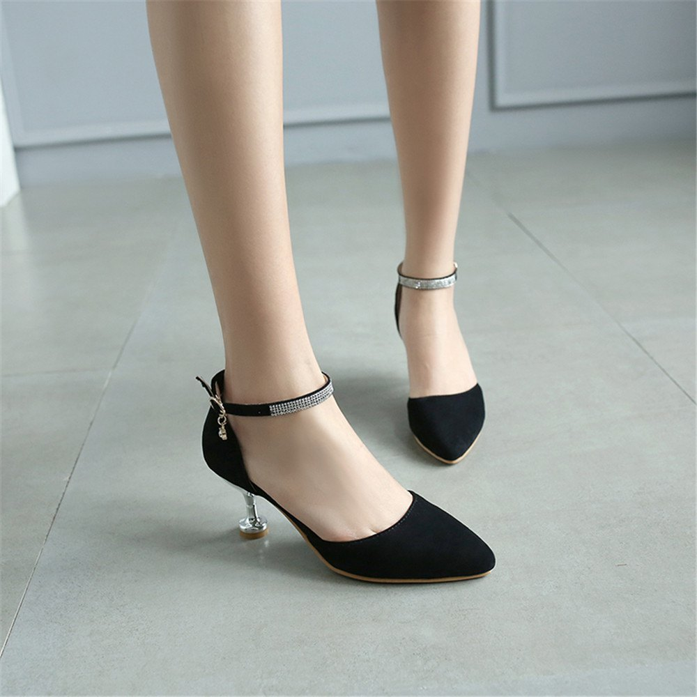 Miss Shoes 559 Pointed Glasses and Fashionable Single Shoes - BLACK 32
