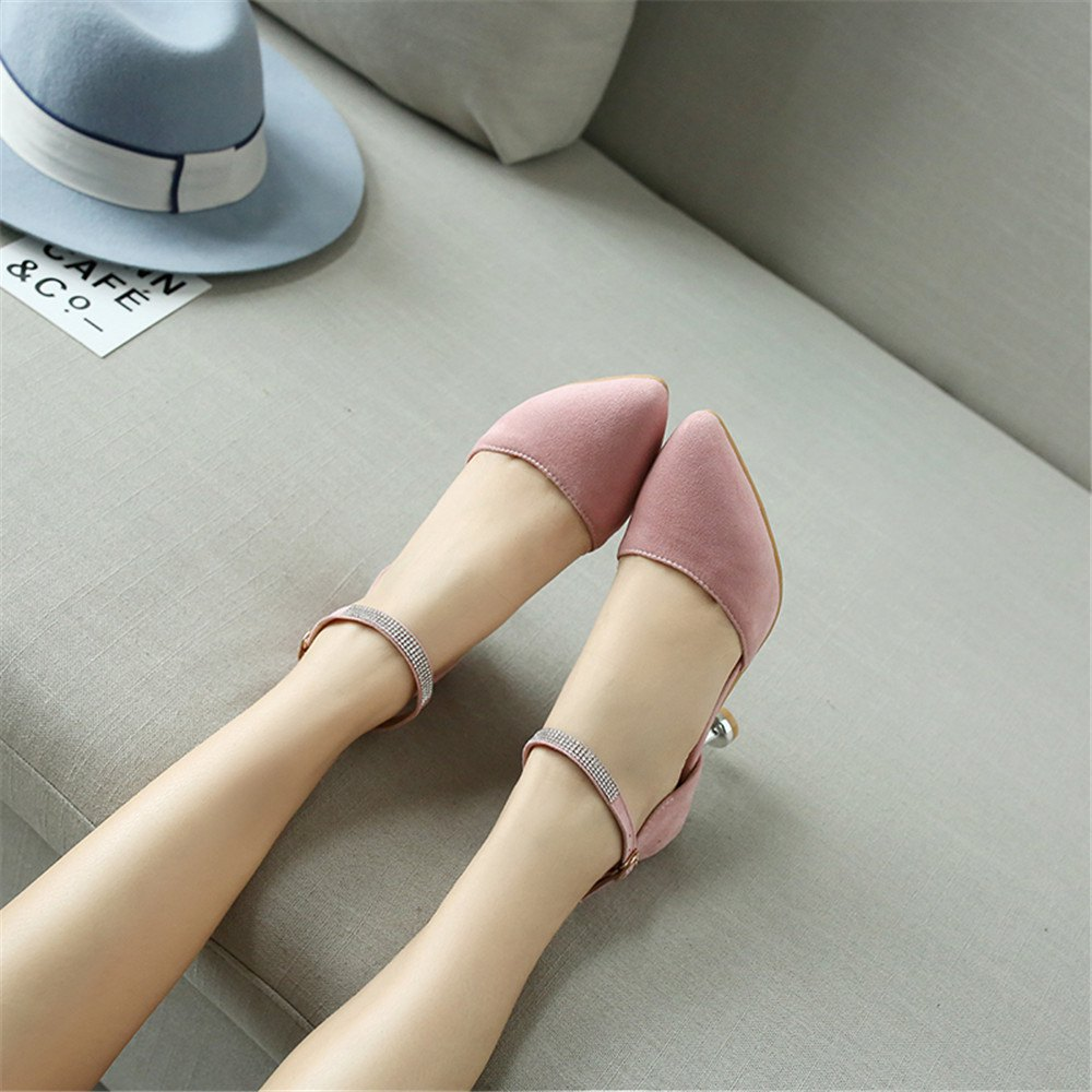 Miss Shoes 559 Pointed Glasses and Fashionable Single Shoes - PINK 35