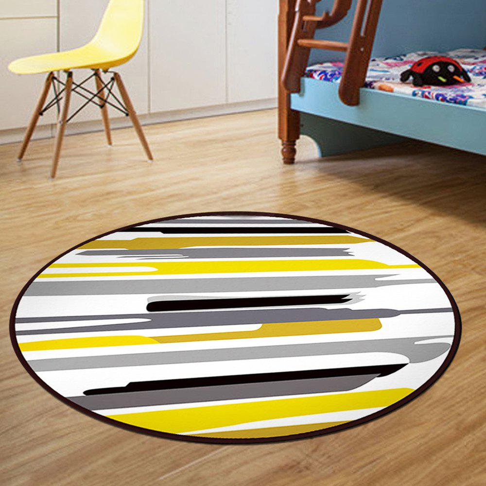 Floor Mat Modern Style Lines Pattern Multi Colored Round Decorative Mat1 - COLORMIX 80X80CM