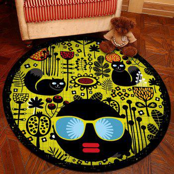 Floor Mat Modern Style Faces Pattern Yellow Black Round Decorative Mat1 - BLACK 100X100CM