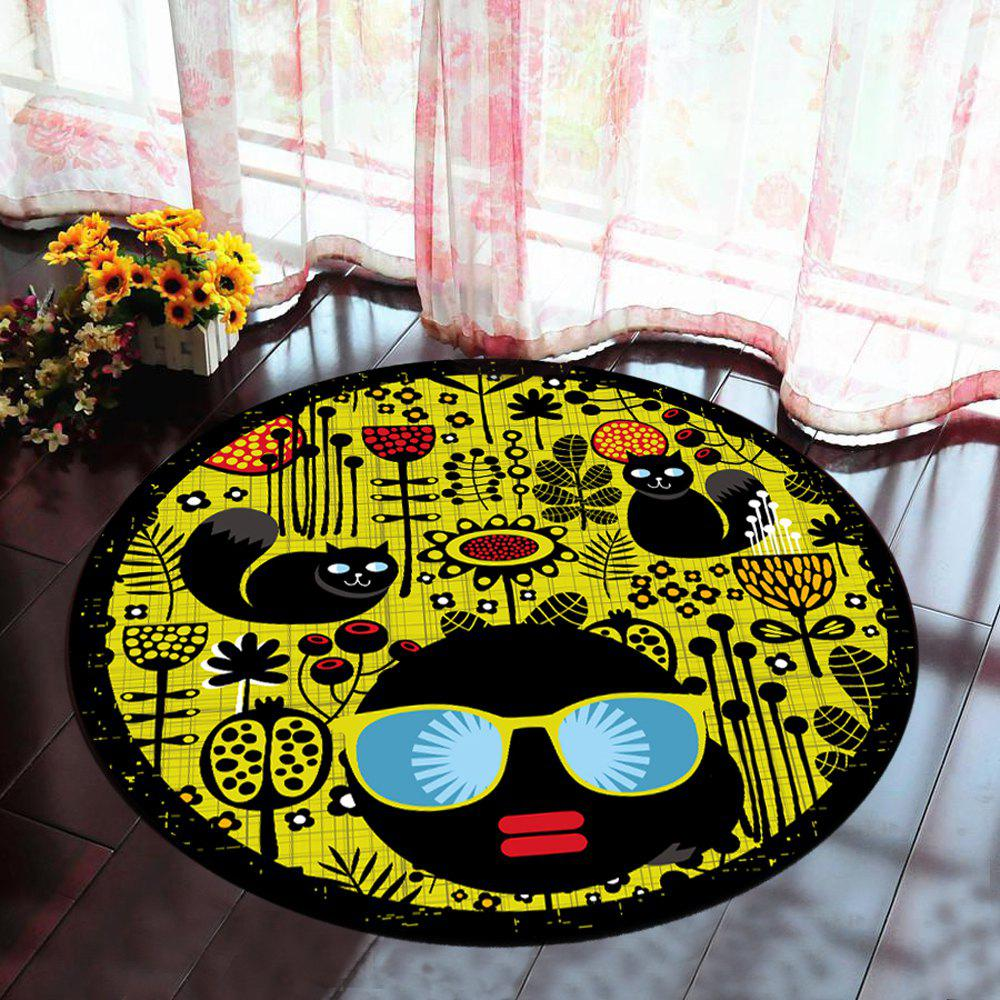 Floor Mat Modern Style Faces Pattern Yellow Black Round Decorative Mat1 - BLACK 80X80CM