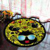 Floor Mat Modern Style Faces Pattern Yellow Black Round Decorative Mat1 - BLACK 40X40CM