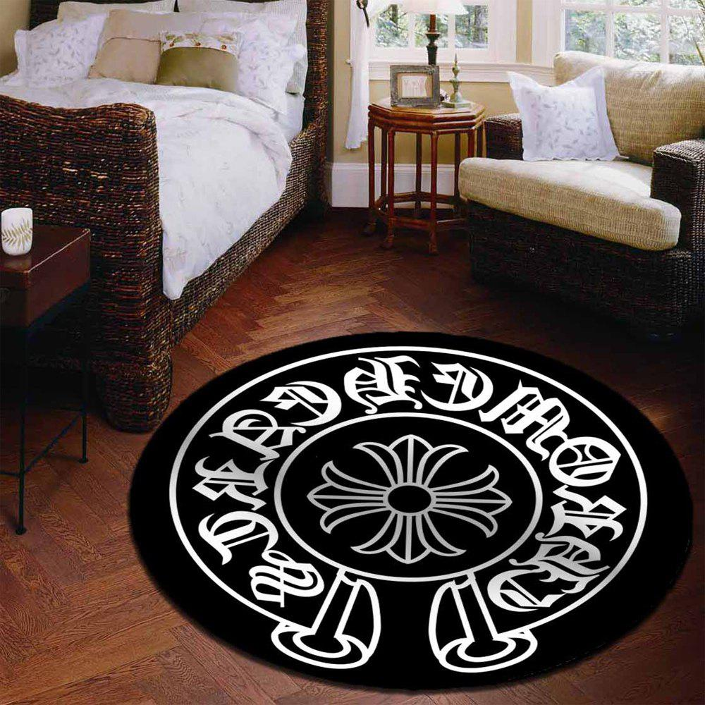 Decorative Rug Round Shaped Design Antiskid Soft Home Mat5 - BLACK WHITE 120X120CM