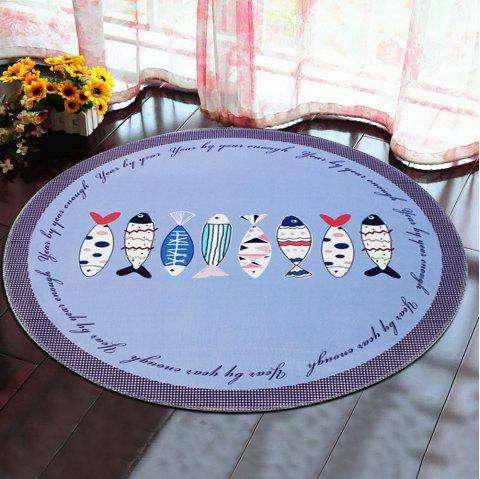 Round Rug Home Decorative Cute Horse Pattern Protective Floor Mat Pictographic fish1 - LIGHT BLUE 120X120CM