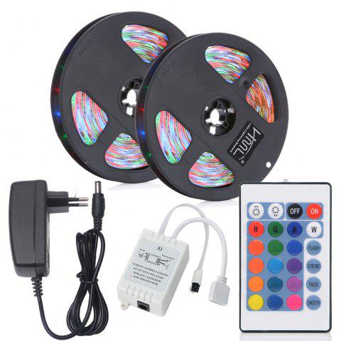 HML 2pcs x 5M 24W Waterproof RGB 2835 SMD 300 LED Strip Light with IR 24 Keys Remote Control+ DC Adapter(EU Plug) - RGB