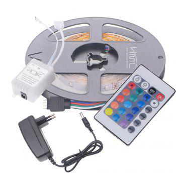 2pcs x HML 5M 24W RGB 2835 SMD 300 LED Strip Light with IR 24 Keys Remote Control+ DC Adapter(EU Plug) - RGB